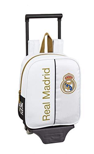 Real Madrid CF Mochila guardería Ruedas, Carro, Trolley, Blanco, 22x28x10cm