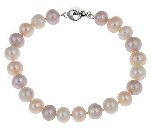 TreasureBay Impresionante pulsera de perlas multicolor de 7 a 8 mm.