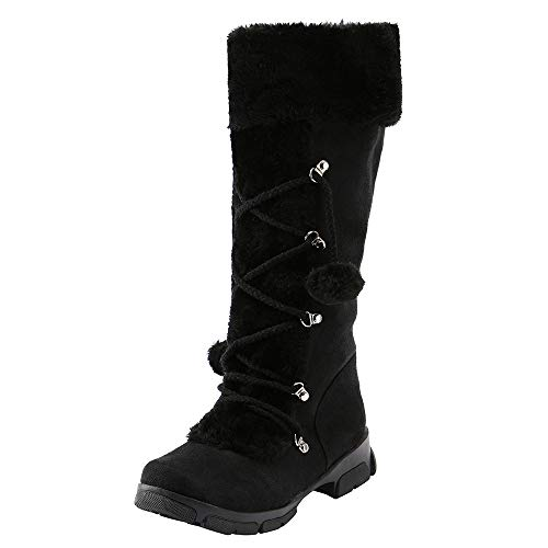 TOTOD Boots Womens Snow Suede Faux Fur Pom Boho Ethnic Jewelry Flat Low Heel Mid-Calf Shoes with Warm Lining