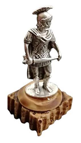 Römische antike Centurio figur - Miniatur Sammlerstück - Römischer Legionär MIni Statue Versilbertes metall mit Harz Basis - Kleine Römischer Modellsoldat zur Sammlung - Zenturio Statuette h 5,2 cm