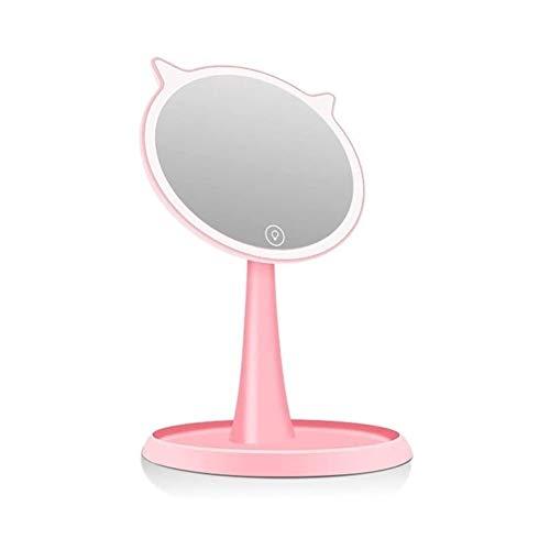 GAOTTINGSD Espejo Maquillaje Espejos del Maquillaje Espejo De Baño con Luz, LED De Pantalla Táctil con Luz LED Profesional Espejo De Baño Espejo De La Belleza De La Muchacha (Color : Pink)
