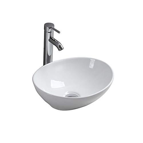 Aufsatzwaschbecken aus Keramik, Ovales Waschbecken, Schüssel, Modernes Design in Glänzendem Weiß für Das Badezimmer