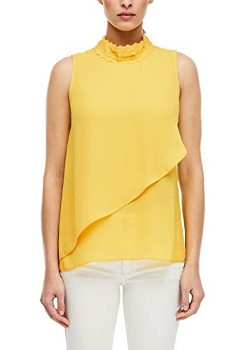 s.Oliver BLACK LABEL Damen Blusentop mit High Neck Yellow 42