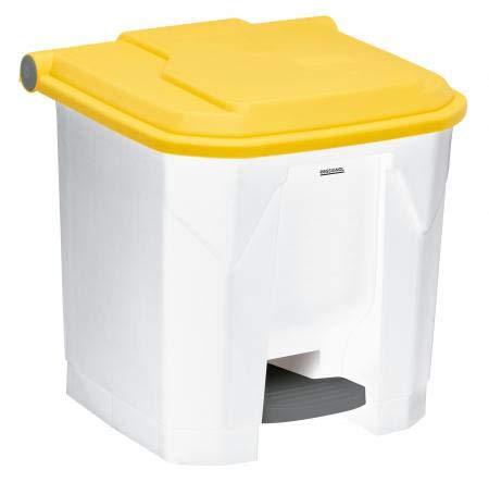 Poubelle à pédale Utilo - 30l - blanc/jaune