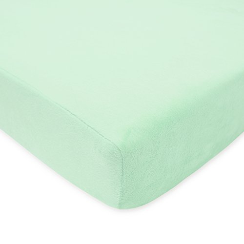 American Baby Company Heavenly Soft Chenille Fitted Crib Sheet for Standard Crib and Toddler Mattresses, Mint, for Boys and Girls, Pack of 1