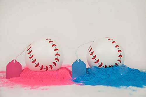 Oh Baby Baby 2 Gender Reveal Exploding Baseballs Set Pink and Blue Powder Sex Reveal Party  Team Pink Girl and Team Blue Boy  Loaded with More Powder 1 Pink amp 1 Blue Ball