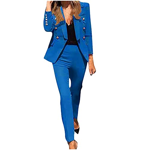 Womens 2 Piece Outfits Long Sleeve Solid Color Blazer with Pants Casual Elegant Business Suit Sets Fashion Set Blue