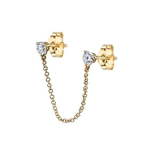 WSZAAT Pendientes de aro de Oro Pendientes de Oreja de círculo de Moda Pendientes retráctiles para Mujeres Hombres Huggie de Oro Unisex Pendiente de aro Doble para Mujer Brincos1Pcs Oro