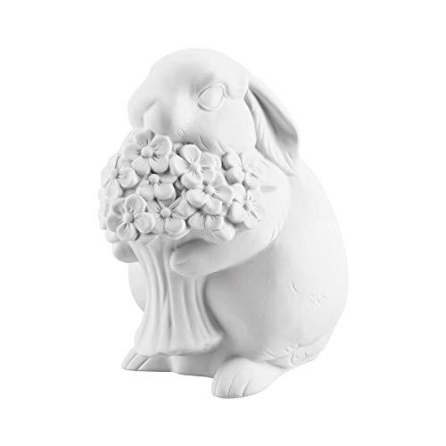 Hutschenreuther Blumen 14 cm weiß biskuit Porzellan-Hase, 14 x 8 cm