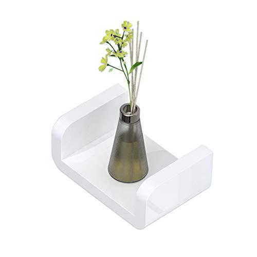 KUNGYO Weiß Kunststoff Wandmontiertes Badezimmer Wandregal - Saug Rustikale U-Förmige Schwebende Regal Badezimmer Organisator Dusche Caddie(Klein)