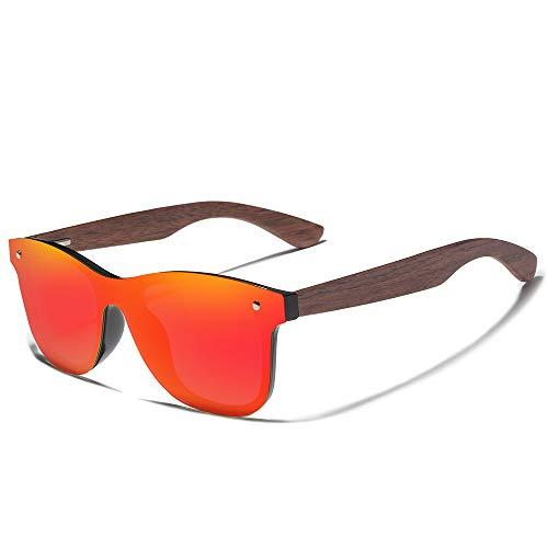 KINGSEVEN Bamboo Wood Polarized Sunglasses- Ultra-Light Maple Frame, Mirror Lenses,The Best Choice For Men & Women Travelers!(Red)