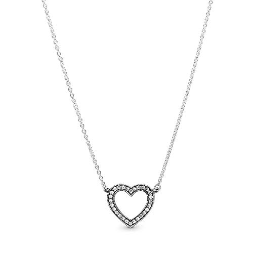 Pandora Jewelry - Sparkling Open Heart Necklace in Sterling Silver with Clear Cubic Zirconia, 17.7 IN / 45 CM