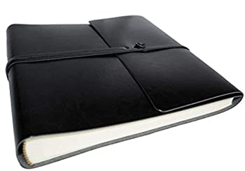 LEATHERKIND Pachino Recycled Leather Photo Album Jet Black Medium Classic Style Pages - Handmade in Italy