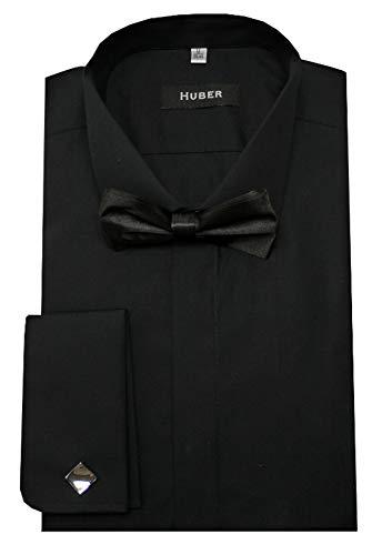 HUBER Smokinghemd schwarz mit Fliege schwarz XXL