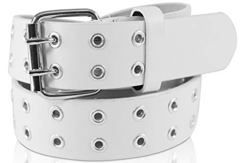 SCAMODA Doppelloch Nietengürtel mit Leder für Damen und Herren, Ösengürtel, versch. Farben, Größen, Breiten (Weiß - 135/BW120 - Br. 3,5 cm)