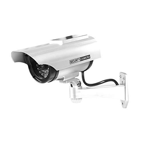Logicstring Cámara Falsa A Prueba De Agua De Vigilancia De Seguridad CCTV Simulada con Energía Solar Cámara Antirrobo con Luz Led Roja Intermitente