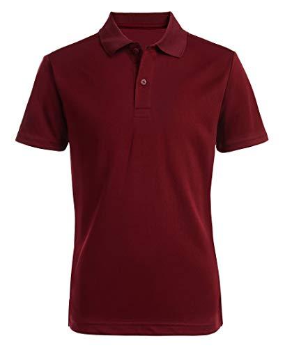 Nautica Boys' Big School Uniform Short Sleeve Performance Polo, Burgundy, 10-12