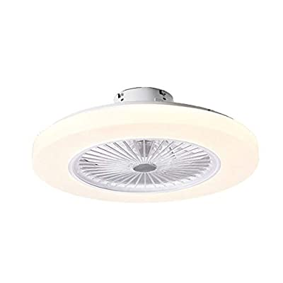 Ceiling Fan with Light-LED Remote Control 3-Color Lighting Modes Invisible Acrylic Blades Metal Shell Semi Flush Mount Low Profile Fan …