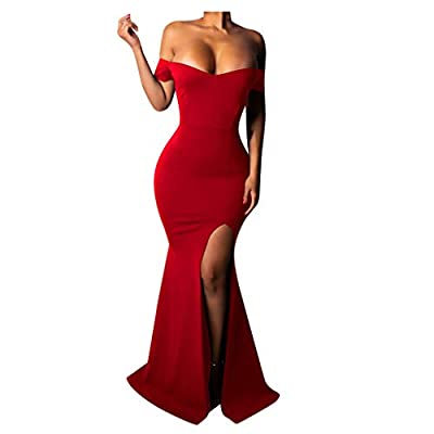 Rifuli Dress for Womens Solid Sexy Dress Sleeveless Party Dress Bodycon Evening Gown Slit Prom Dress Red