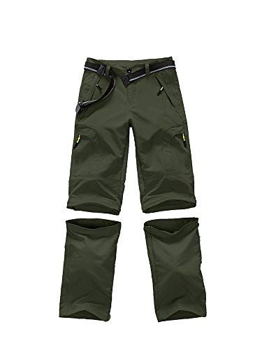Asfixiado Boys Cargo Pants, Kids Youth Girls Athletic Outdoor Quick Dry Waterproof UPF 50+ Hiking Climbing Convertible Trousers #9017 Army Green-M