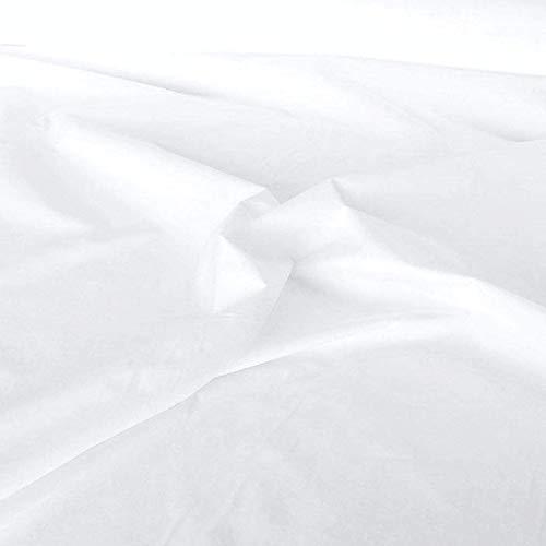 TOLKO Baumwollstoff   42 kräftige ÖkoTex Farben Baumwoll-Nesselstoff uni Kleiderstoff Dekostoff   Meterware 150cm breit   Vorhang-Stoff Bezugsstoff Nähstoffe Baumwollstoffe 50cm (Weiß)