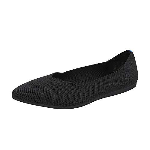 DREAM PAIRS Women's Dfa213 Comfortable Ballet Dressy Work Pointed Toe Knit Flats Shoes, Size 8, Black