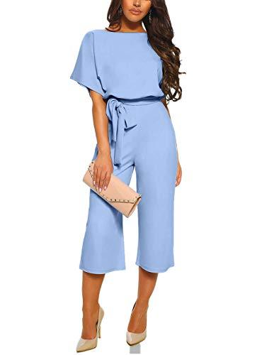 Happy Sailed - Tuta da donna a maniche lunghe, con scollo a O, elegante, lunga, tuta con pantaloni, S-XL 2 azzurro L