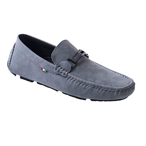 Mens Loafers Flat Slip On Driving Shoes Kingsize Duke D555 UK 12-15 (UK 14 / EU 49, Grey)