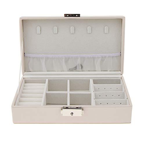 Baosity Caja De Exposición De Cuero PU Estuche Para Guardar Joyas Relojes 21x12x6cm - Blanco