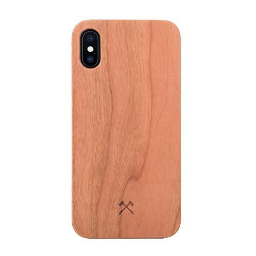Woodcessories - Hülle kompatibel mit iPhone X/Xs aus Echtholz - EcoHülle Classic (Kirsche/Schwarz)