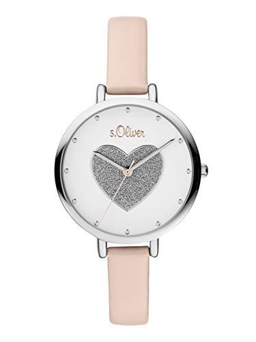 s.Oliver Damen Analog Quarz Uhr mit Leder Armband SO-3832-LQ