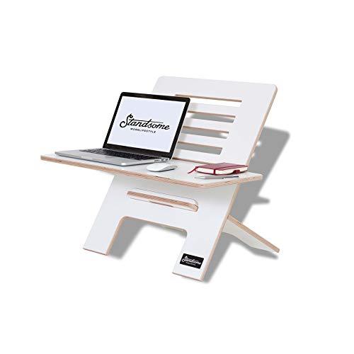 Standsome Slim White mit breiter Ebene – Der Schreibtischaufsatz aus Holz, Stehpult Aufsatz höhenverstellbar, Schreibtisch Erhöhung und Stehtisch weiß