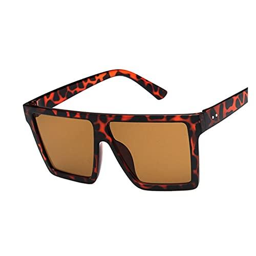 Oversize Square Occhiali da sole di lusso di marca nero leopardo grande telaio occhiali da sole femminili sfumature Coulos (lenti colore: marrone leopardo)