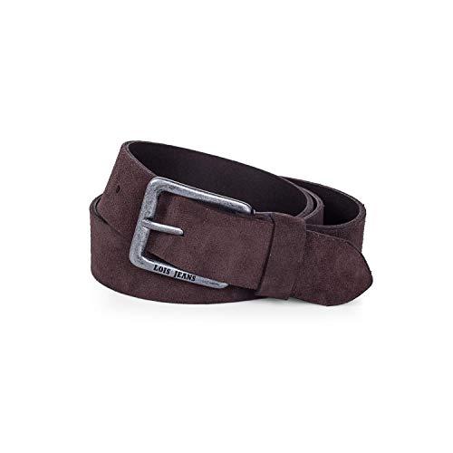 Lois - cinturon piel serraje ante hombre mujer cuero. Talla Ajustable 35 mm de ancho 49809, Color Marrón oscuro