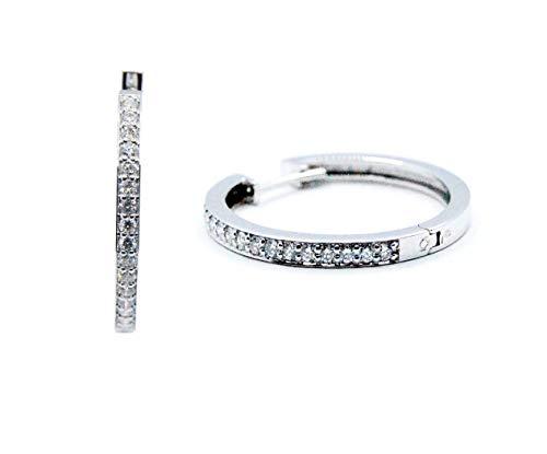 Pendientes Aros Criollas Oro Blanco con Diamantes