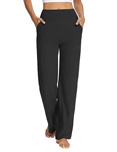 Sarin Mathews Womens Yoga Sweatpants Bootcut Loose Comfy Lounge Wide Leg Pants Workout Joggers Pants with Pockets Black M