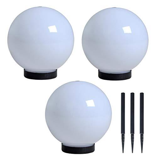 ESTEXO Solarkugel Solarleuchte Solarlampe LED Leuchtkugel Gartenleuchte Außenleuchte Lampe Bodenbeleuchtung Bodenlampe (3 Stück/Ø 20 cm)