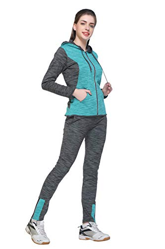 EX10SIVE EX1010L1142 Cotton-Poly-Jersey Womens Track Suit Set (Ex1010L1142_Anthra_Seagreen), XL (Anthra_Seagreen)