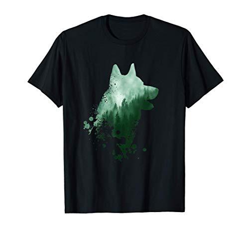 Husky Hund Motiv | Hunde Silhouette | Siberian Husky T-Shirt