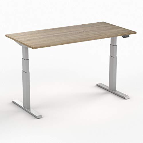 Worktrainer Elektrischer Sitz-Steh-Schreibtisch Steelforce 670 (Silber/Eiche Mittelhell 120 x 80cm)