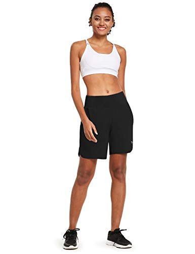 BALEAF Womens 7 Inches Long Running Shorts with Liner Lounge Sport Gym Shorts Back Zipper Pocket