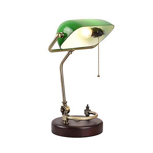 PElight retro tafellamp, bankerlamp groen met versierde houten voet - groene bureaulamp bibliotheek lamp bank lamp in jaren 20 decor - Kleur: Groen, messing, hout - met EU-stekker