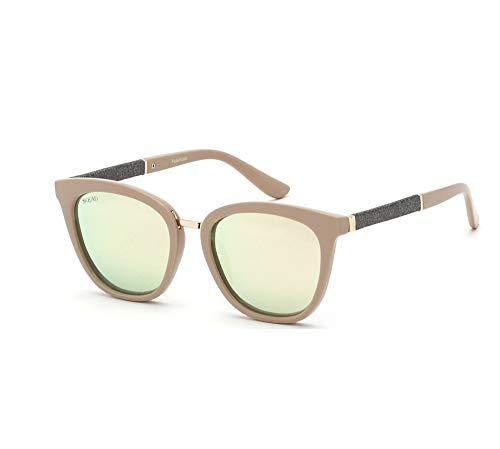 SQUAD Gafas de sol polarizadas para mujeres,lente espejada y forma redonda (C3)
