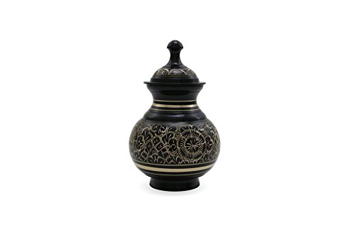 Near & Dear Pet Memorials 25 Cubic Inch Engraved Pet Cremation Urn, Small, Black