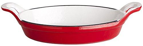 Gietijzeren ovenschaal van gietijzer, rood, 21 x 16 x 4 cm