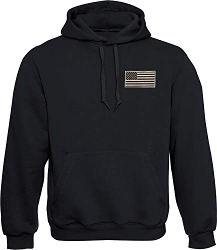 Hoodie: USA Flagge mit Stick-Patch - US-Army Kapuzenpullover für Herren & Damen - Stars and Stripes - Geschenk Biker Rock-er - Sweatshirt Amerika America United States - Sweater Army - Kapuze-n (L)