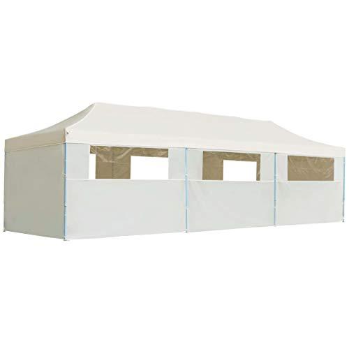 vidaXL Folding Pop-up Party Tent with 8 Sidewalls 3x9m Cream Canopy Gazebo