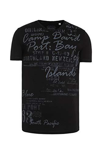 Camp David Herren T-Shirt mit V-Neck und Used Print, Black, M