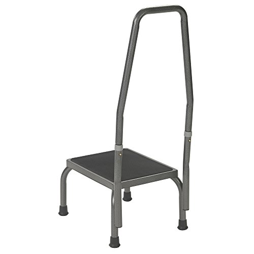 Drive Medical Footstool with Non Skid Rubber Platform and Handrail, Silver Vein