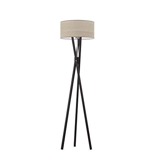 Lámpara de pie ELX ECO con pantalla de roble blanqueado, marco de madera negra